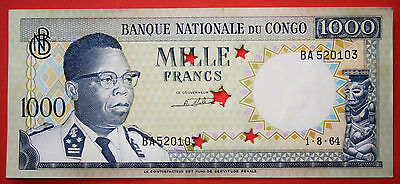 Democratic Republic of the Congo 1000 FRANCS 1964 Unc. Banknote - Cancelled