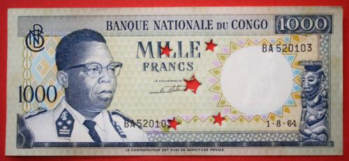 Democratic Republic of the Congo 1000 FRANCS 1964 Unc. Banknote - Cancelled