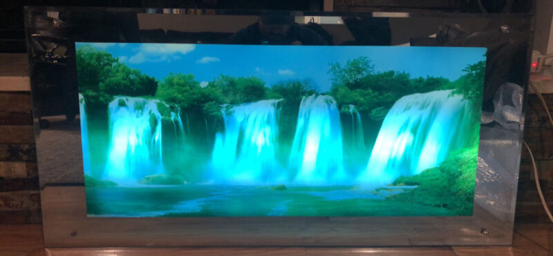 Large Vintage Light Up Waterfall Motion Picture Mirror With Sound Wall Art