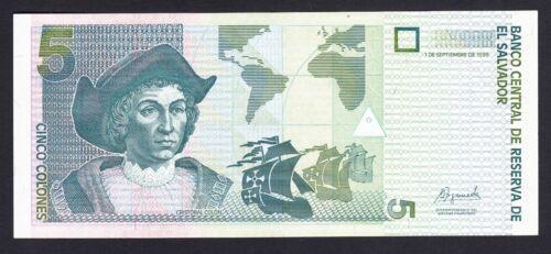 El Salvador 5 Colones 1999  AU-UNC  P. 153,  Banknote, Uncirculated