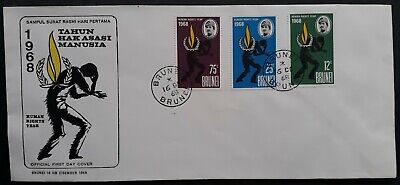 SCARCE 1968 Brunei Human Rights Year FDC ties 3 stamps cancelled Brunei