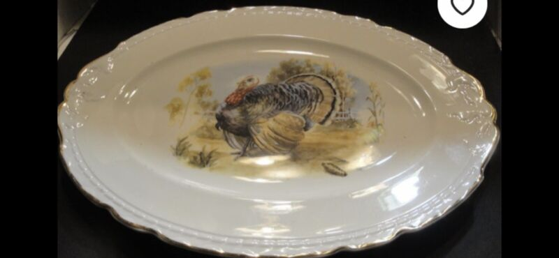 Vintage Platter With Hand Painted Turkey