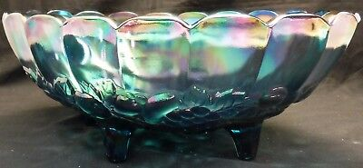 Vintage Iridescent Blue Harvest Indiana Carnival Glass Footed Oval Fruit Bowl