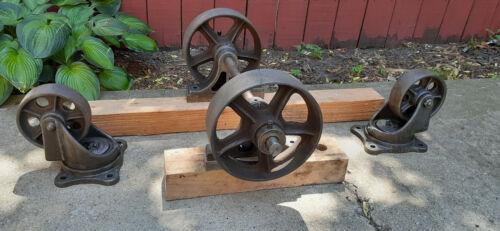 Industrial Factory Cart Vintage Cast Iron Wheel SET, Table, Hit Miss Cart Wheels