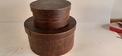 Antique Pantry Boxes, Grain Painted, Nest of Two