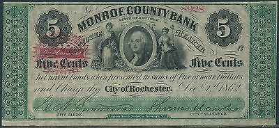 5  Monroe County Bank City Of Rochester No  8928 Dec 1 1862 Br9440