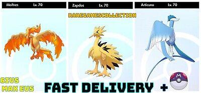 SHINY Galarian 70 Moltres Zapdos Articuno 6IV Pokemon Sword Shield FAST DELIVERY