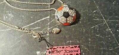 BETSEY JOHNSON SOCCER BALL PENDANT CHARM NECKLACE-NEW WITH TAGS