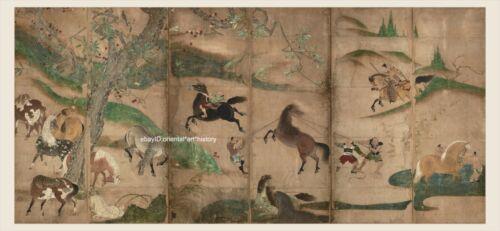 Japanese screen painting Very Big Size Samurai herding horses touhaku Hasegawa 1