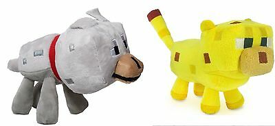 Minecraft Set of 2 - Ocelot & Wolf Pet Animals - NEW - FREE FAST USA SHIPPING