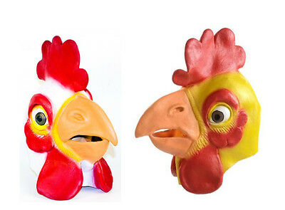 Full Latex Chicken Mask Rooster Face Realistic Adult Size Head Waddle Beak NEW](Chicken Masks)