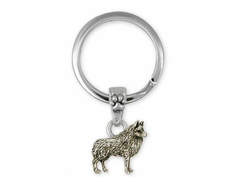 Schipperke Jewelry Sterling Silver Schipperke Key Ring Handmade Dog Jewelry SC4-