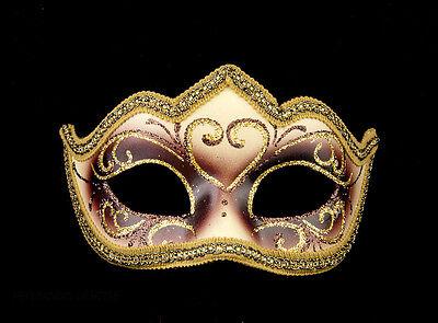 Mask Venetian Wolf Brown Golden Colombine a Tip Hallmarked a Venice 1199 V62