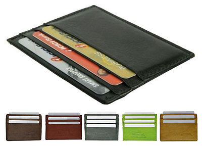 Genuine Leather Men's Thin Wallet Credit Card Flat Front Poc