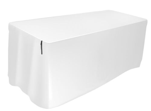 Form Fitted Table Cover, White 8 Foot
