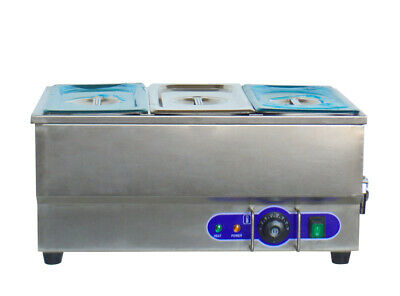 6 3-pot Electric Food Warmer Bain Marie Buffet Equipment Stainless Steel