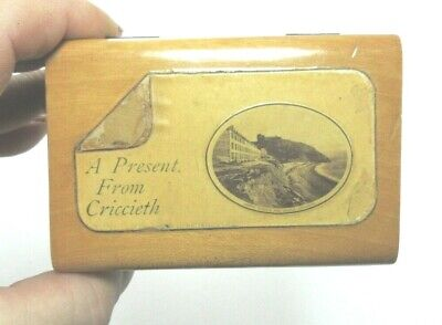 ANTIQUE MAUCHLINE SMALL WOODEN TRINKET BOX A PRESENT FROM CRICCIETH WALES