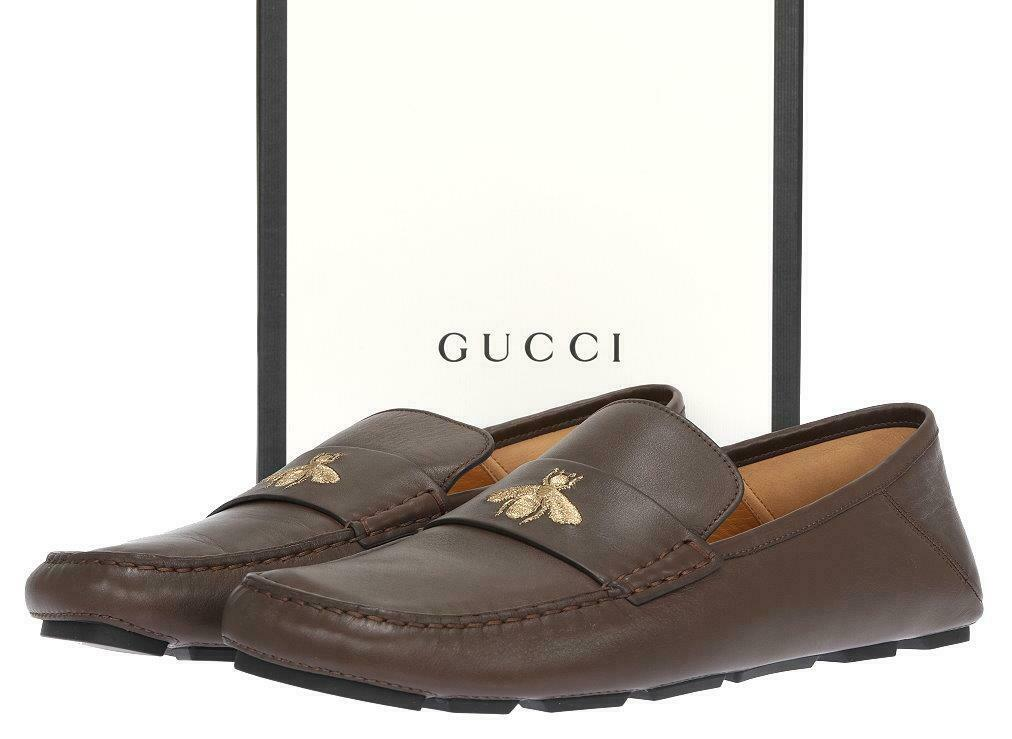 NEW GUCCI MOCA BROWN LEATHER BEE MOCCASINS DRIVER LOAFERS SHOES 9 G/US 10