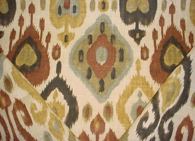 RICHLOOM BEAUTIFUL CHARCOAL / CHESTNUT PRINTED IKAT KILIM UPHOLSTERY FABRIC