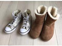 SIZE 1 CONVERSE & UGG GIRLS BOOTS - HARDLY WORN