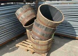 Reclaimed 1/2 Oak Whiskey Barrel + Free Bag Of Topsoil