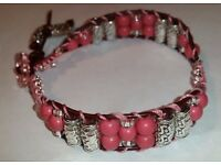New handmade, pink Turquoise Gemstone and Tibetan Silver bracelet. Fit up to 8 inch wrist