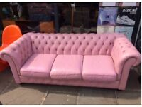 Cool pink 3 seater Chesterfield sofa for sale.
