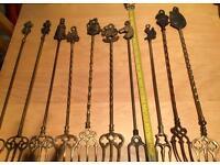 Job lot of vintage brass items. Forks, bells, ashtrays
