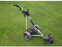 Golf caddy, battery powered. Powa Kaddy 'Freeway' Titanium. Foldaway. Electric caddie / cart.
