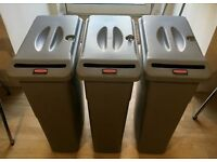 3 x Rubbermaid Grey Slim Office Confidential Document Waste Container Bins + Lids/Key