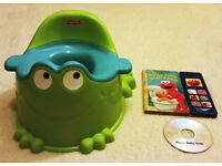 Fisher Price Frog Potty + Potty training interactive book with sounds and DVD Potty time with Elmo