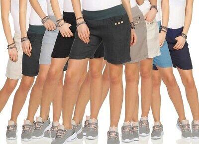 Damen Leinenshorts Bermuda lockere Kurze Hose 100% Leinen Shorts mit Knöpfen