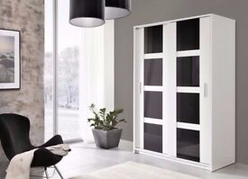 Brand New High Gloss Modern Style Luxury Sliding Door Large Wardrobe White/Black