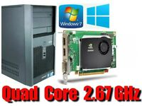 Workstation PC, Quad Cord 2.67GHz, Quadro FX580, 4GB Ram, 320HD
