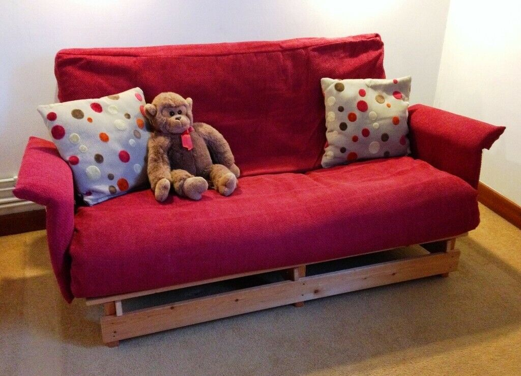 Wine Red Two Seater Futon Sofa And Double Bed Solid Pine Frame In Cambridge Cambridgeshire Gumtree