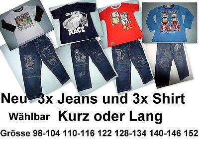 Neue CooLe Jeans mit Shirt  3 Hose + 3 T-Shirt Grösse 98-152 Top Paket 6 Teile