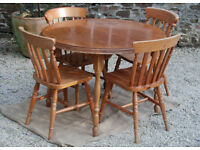 Extending Pine Dining Table & Four Pine Chairs - Free Delivery