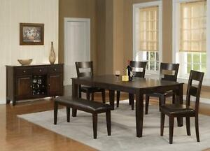 75% OFF. FLOOR MODEL. 7PC DINING SET. SET INCLUDES TABLE WITH BUTTERFLY LEAF AND 6 CHAIRS. R