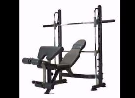 smith machine with weight bench as new