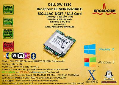 DELL DW1830 Broadcom BCM943602BAED M.2 NGFF 802.11AC 1300Mbps BT4.1 Hackintosh