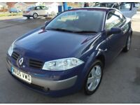 RENAULT MEGANE 1598cc DYNAMIQUE VVT 115 CONVERTIBLE 2005-05, LOOK ONLY 80K FROM NEW