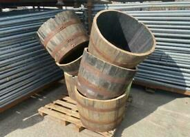 Reclaimed 1/2 Oak Whiskey Barrel + Free Bag Of Garden Topsoil