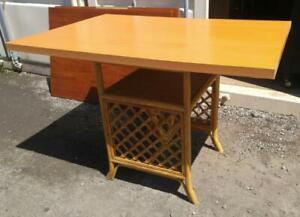 Oakville Cane Table Base with Ikea Wood Top 48x32x31high Bistro Table Kitchen Dining Outside Garden Patio Balcony
