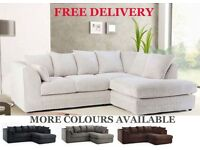 FREE DELIVERY Cheap Sofas Brand New Fabric Corner Couch Foam Filled Settees
