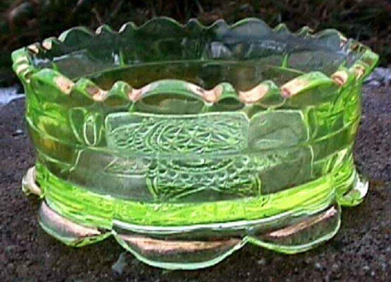 *EAPG RANSON GOLD BAND VASELINE SAUCE BOWL RIVERSIDE GLASS 1899 B75-G