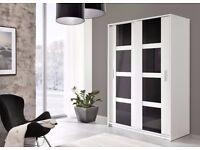 Brand New 2 Sliding Door Wardrobe 140 cm Wide White/Black Storage