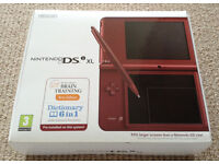 DSi XL Wine Red With 8 Games - All in Pristine Condition & Original Packaging