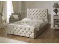***BRAND NEW DOUBLE CREAM/SILVER CRUSHED VELVET BED SET+MEMORY/ORTHOPAEDIC MATTRESS+FREE LOCAL DELIV