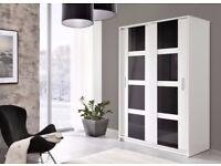 BRAND NEW HIGH QUALITY SLIDING DOOR LARGE WARDROBE WHITE/BLACK GLOSS MODERN STYLE