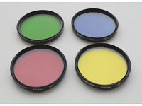 RED, BLUE, YELLOW, GREEN 52MM SCREW ON LENS COLOUR FILTERS WITH RIGID CASES